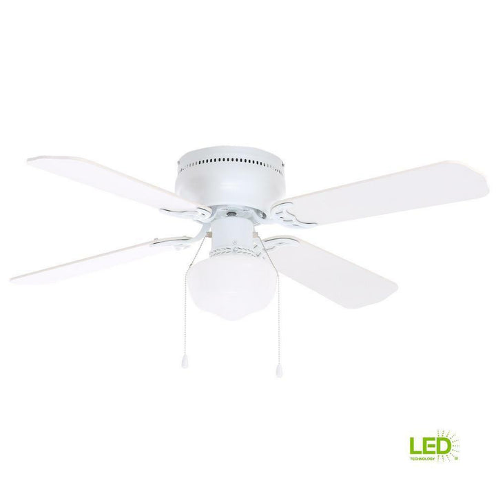 "littleton 42"" ceiling fan 270 614 LED white finish glass shade lighting"