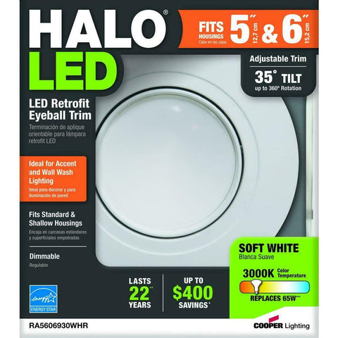 "Halo 5"" 6"" LED Recessed Retrofit Eyeball Adjustable Light  3000K 600 Lumens"