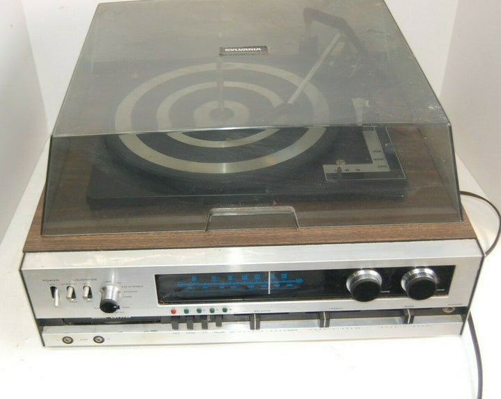 Vintage GTE Sylvania Stereo CST7732 TAPE (8-TRACK) RECORDER TURNTABLE 33-45'5