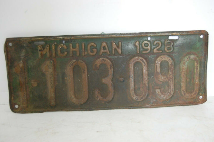 1928 State Of Michigan License Plate vintage automobile plate