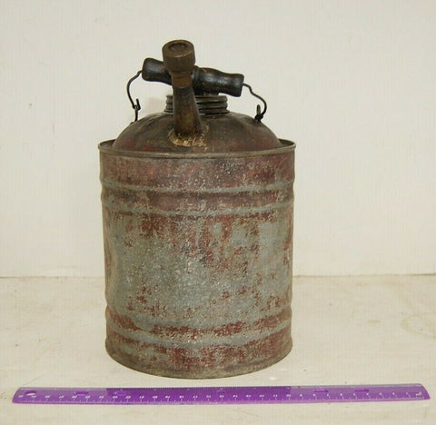 Vintage Antique Small Metal Gas Can Round Barn Red Country Store Gas station art
