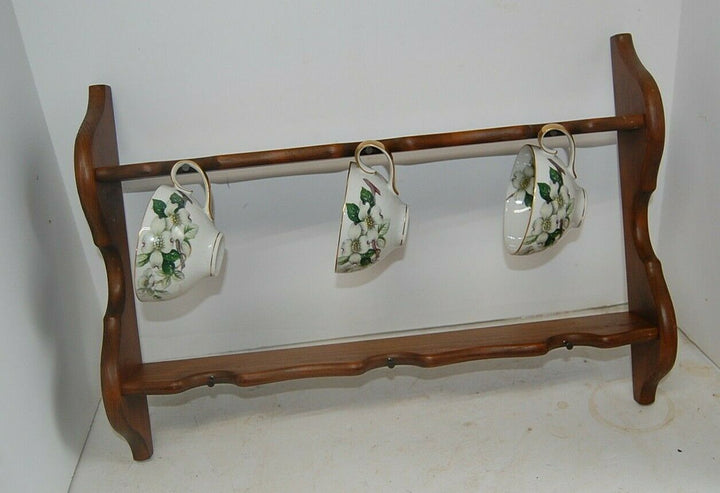 Rustic Handmade Coffee Cup Mug Holder Country Home Decor kitchen shelves cottage