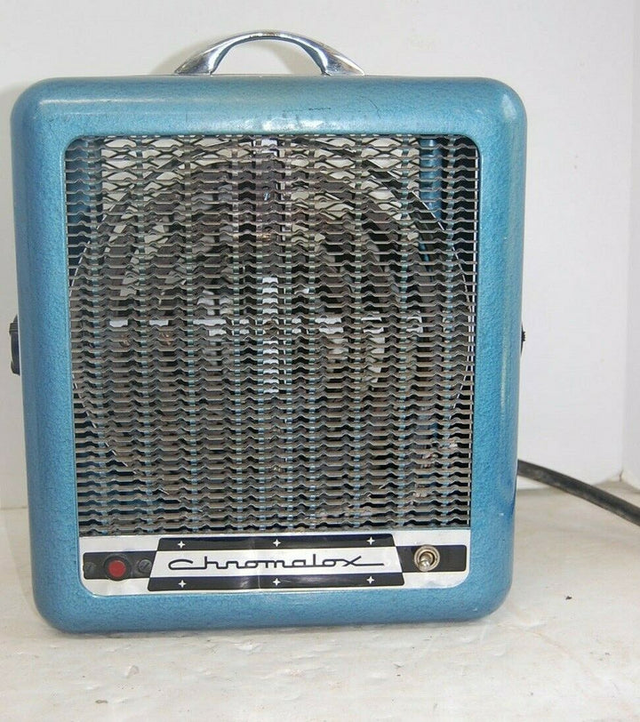 VINTAGE CHROMALOX MODEL# 118-032  PORTABLE BLOWER HEATER RETRO BLUE 230 VOLT