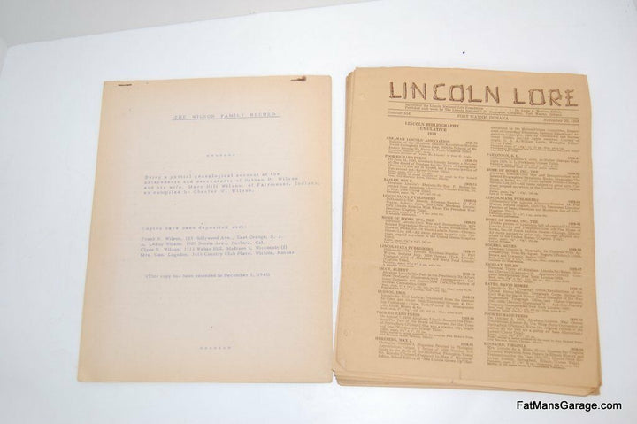 LINCOLN LORE 1931-1942 ABRAHAM LINCOLN AND THE WILSON FAMILY RECORD 1945