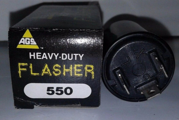 AGS Heavy Duty Flasher #550 12V 3-Terminal-Prong Turn Signal Flasher