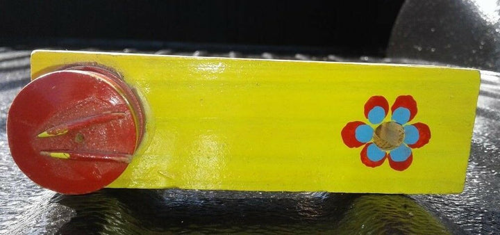 Beautiful Antique Hand Crafted Wooden Drummer Painted Flower Noisemaker Kid Toys