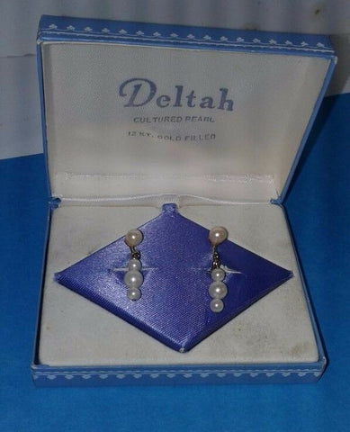 Vintage Deltah 12 Karat Gold Fill Pearl Cultured ScrewBack Earrings Original Box