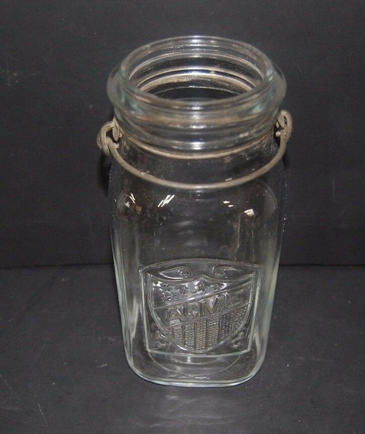 "Vintage Acme Canning Jar 8"" Acme Brand Embossed Quart Size Clear Glass"