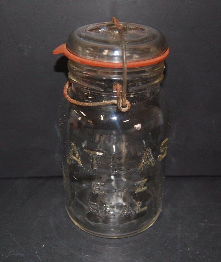 Hazel Atlas E-Z Seal Canning Jar w Lid Wire Bail Closure Clear Glass Embossed