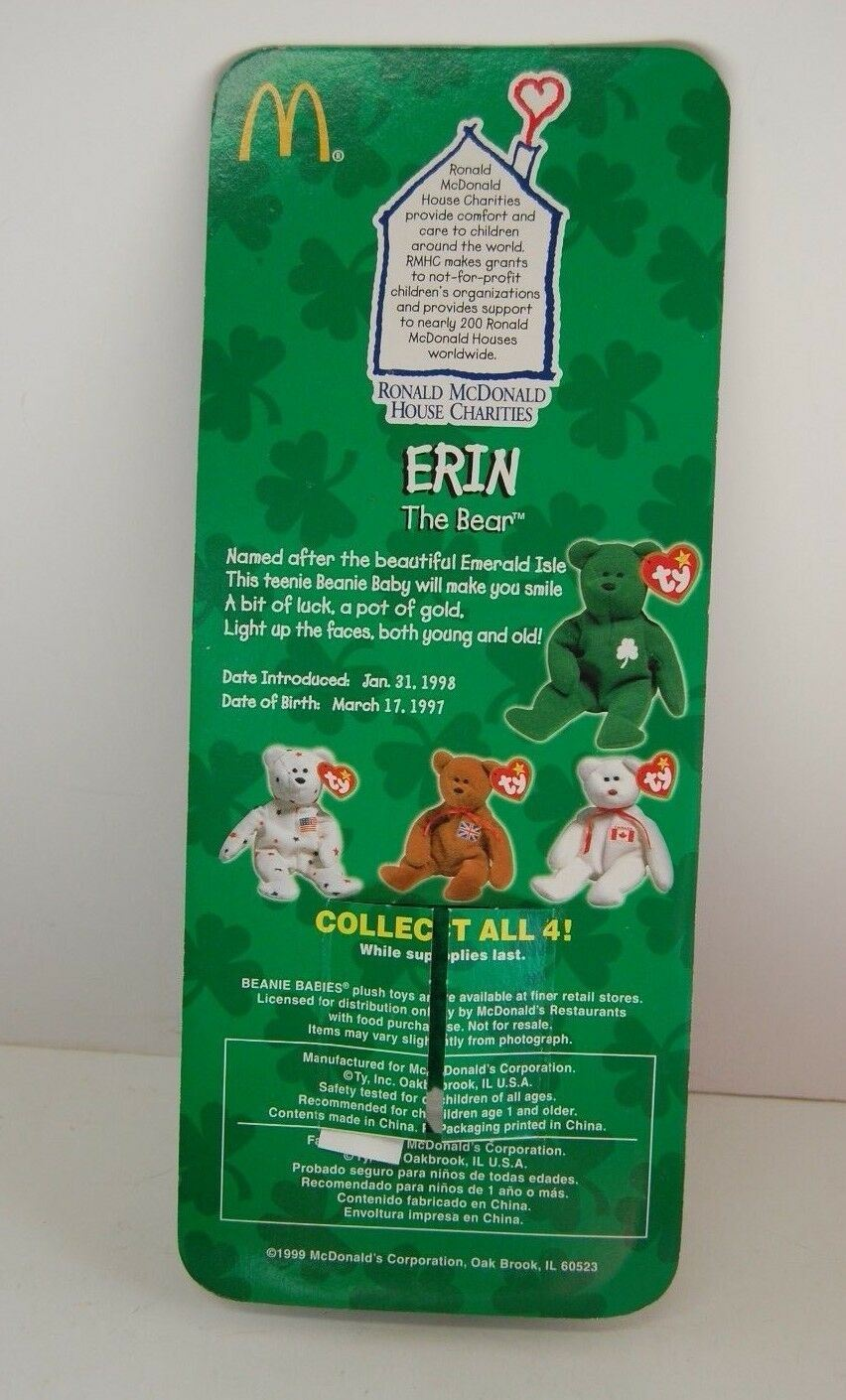 Erin The Bear-1997 McDonald's Ty Beanie Baby Collectible toys