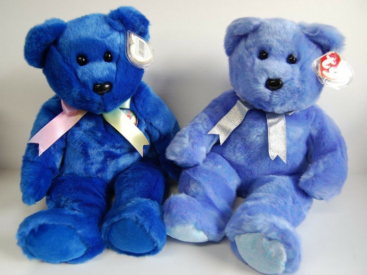 TY Clubby I & II Blue Bears Beanie Baby SET 2 Rare Retired 99 Great Shape Toys