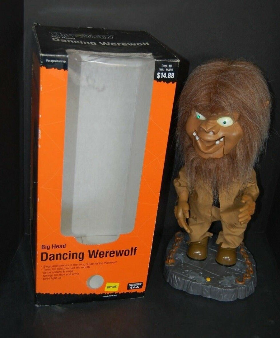 Gemmy Halloween Big Head Animated Singing Dancing RARE Werewolf New In Box