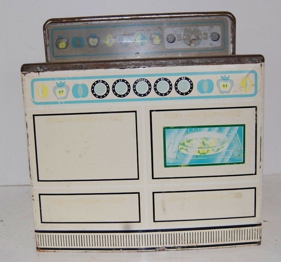 VINTAGE WOLVERINE KITCHEN STOVE TIN TOY #525 RETRO KITCHEN DECOR LEMON & LIME