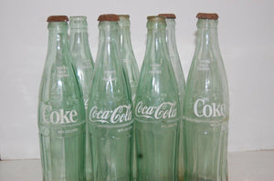 8 Vintage COCA COLA Soda Pop BottleS Glass 16 fl. OZ CLEAR GLASS DECOR CRAFTING
