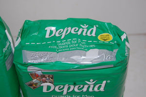 Depends Incontinence Guards for Men, Reg Absorbency,1 case W/ 6 Packs of 14= 84