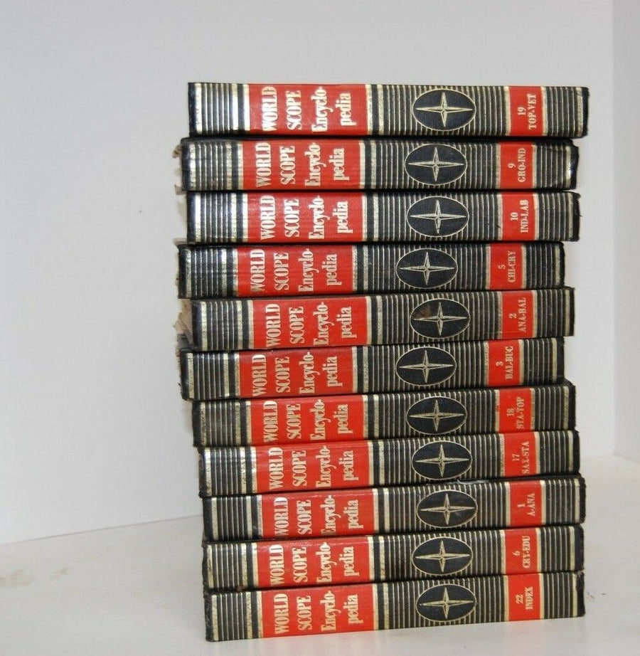 lot of 11 1969 WORLD SCOPE ENCYCLOPEDIA'S MIXED VOLUMES VINTAGE HARD BACK BOOKS