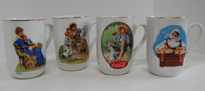Norman Rockwell Museum tea cups vintage 1980s Gold trim excellent Coffee art set