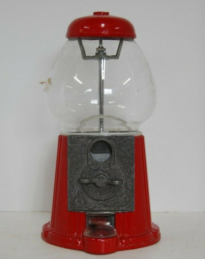 1985 Red Metal Glass Carousel Coin Gumball Candy Machine Junior NO 13 VINTAGE