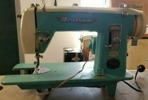 VINTAGE Brother Blue Sewing Machine Model 180 Heavy Duty Machine Operating TEAL