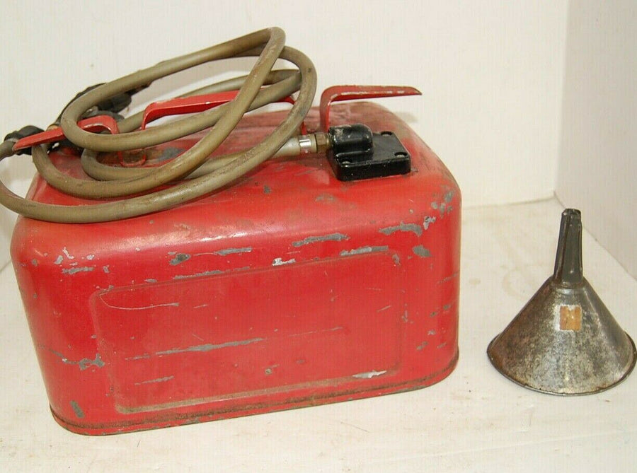 Vintage Gas Can QuickSilver metal Gasoline Can w/ Hand Pump, Hose & FUNNEL