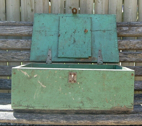 Small Vintage Wood Trunk Folk Art Trunk Carpenter Tool box Chest Jewelry Decor