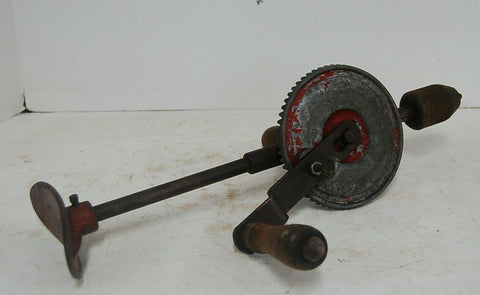 antique Hand Drill Egg Beater crank Style wooden handle red w/ body brace tools