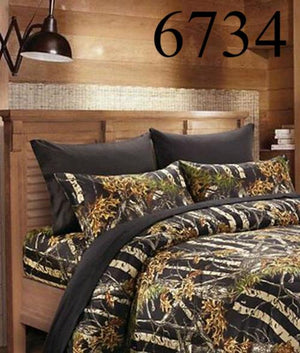 The Woods Full Size 6pc. Printed Luxury Bed Sheet Set Microfiber Camouflage Camo