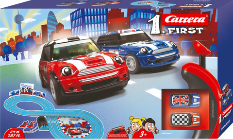 Carrera First Mini Cooper Toy Slot Racing Cars and Track Set