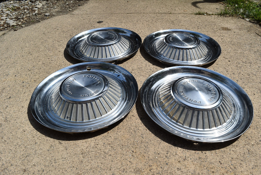 "1959 59 Pontiac Motor Division 14"" Hubcap Bonneville Catalina Star Chief Set 4"
