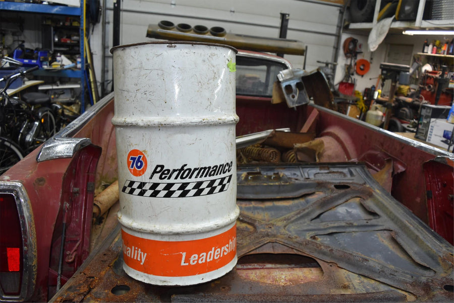 Vintage Oil Barrel Trash Can Cool Man Cave 76 performance garage