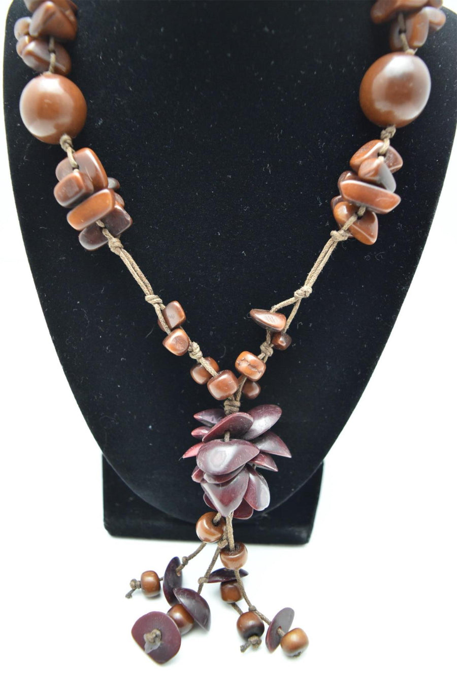 TAGUA Nut All Natural Necklace Brown Handmade in Ecuador Organic, Vegan