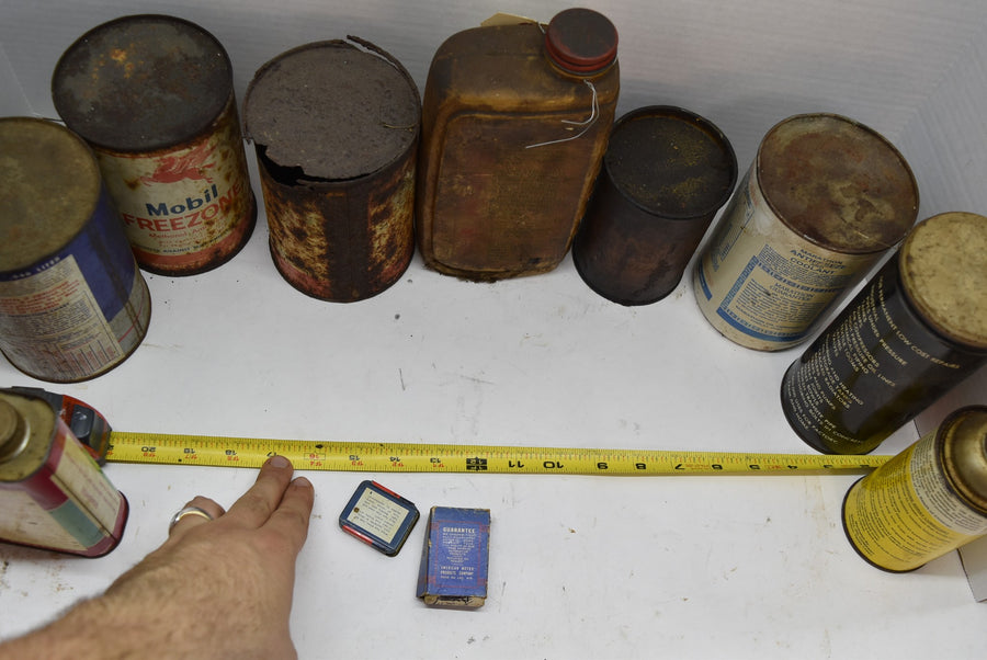 Old Vintage Oil Cans Shell Mobil Sinclair Marathon and Others Lot