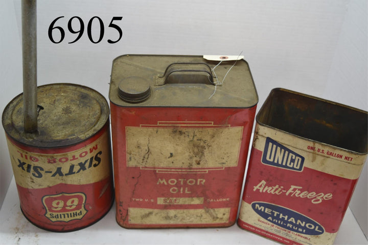 vintage oil cans lot home made funnel  man cave cool stuff