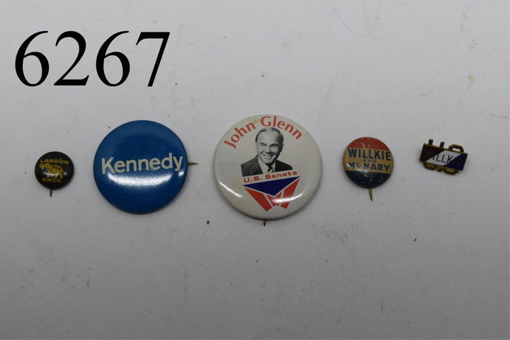 1930 1940 collectible pins Kennedy John Glenn Landon Knox Willkie and McNary