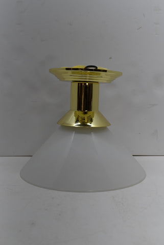 International Lighting Brass Finish Ceiling Lamp White Cone Shade 4814