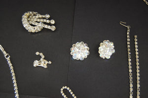 Vintage Costume Jewelry Cubic Zirconia Brooch Necklace Bracelet Earrings Decor
