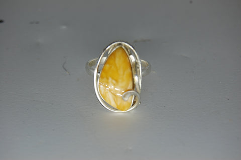 Vintage Amber Sterling Silver Ring Opaque Size 8.5 Gemstone Crystal Decor