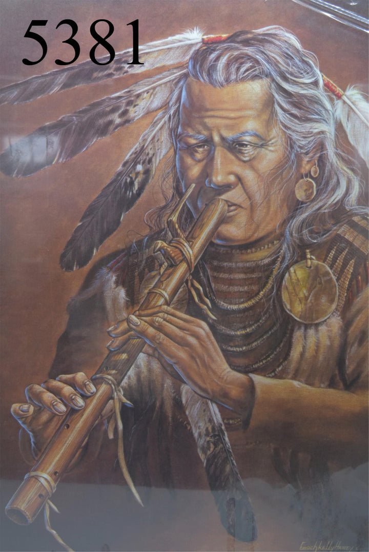 Enoch Kelly Haney-Flute player Native american art house decor 28x23 painting