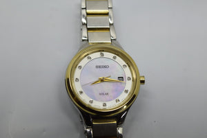 Seiko Women's Watch Solar Diamond Accent Two Tone Mother of Pearl Dial v137-0cn0
