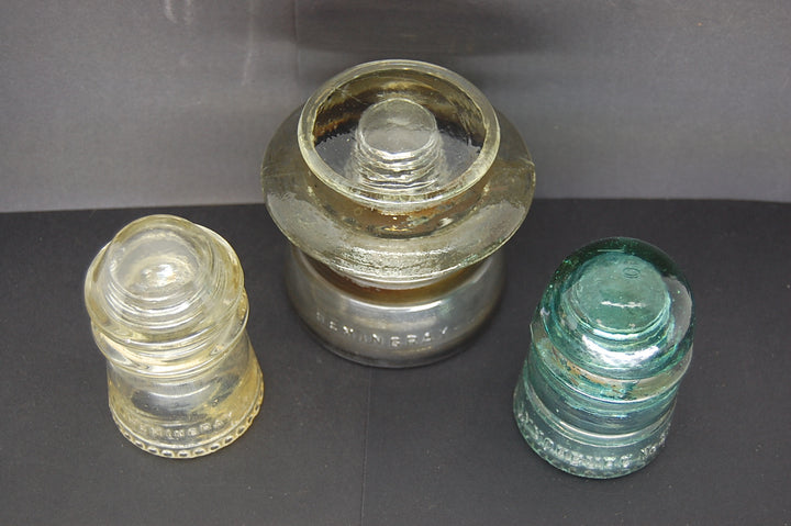 Lot Of 3 Insulators Hemingray Lynchburg Aqua Blue Clear Gray Collectible Decor