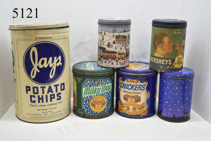 Vintage Rustic Collector's Food Tin Cans Collectible Kitchen Home Decor Lot of 6