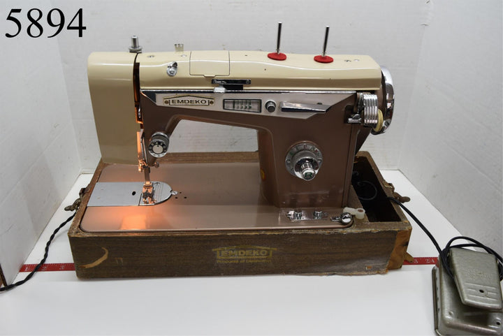 Emdeko Rare Precision Heavy Duty Sewing Machine in Case Works She Shed Decor Old