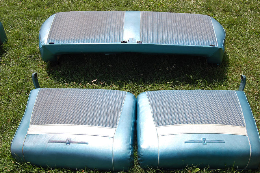 1963 63 Pontiac Catalina Front Seat Assembly Blue White Vinyl Cloth Original OEM