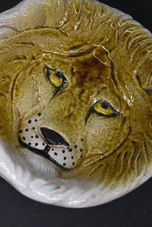 Ceramic Handmade Lion Trinket Tray Bowl Made In Italy Vintage Decor Dish