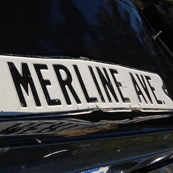 Vintage 1930s Metal Street Sign: Merline Ave