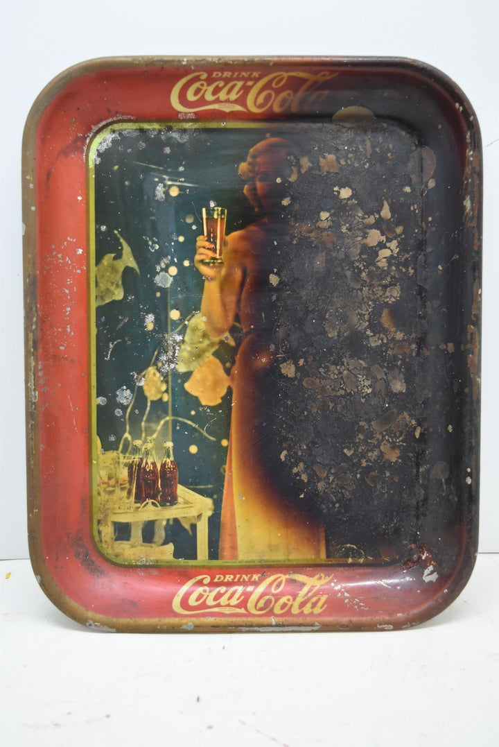 Vintage Authentic Coca Cola Serving Tray Madge Evans 1935 Burnt For Restoration