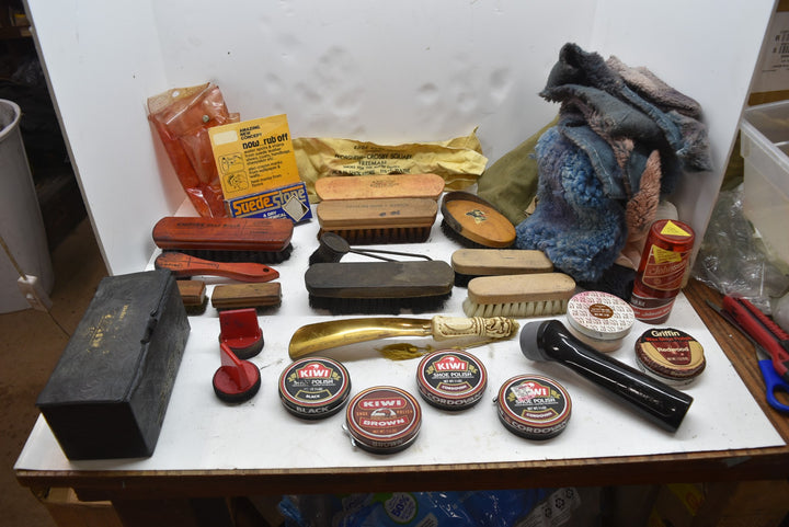 Vintage Shoe Shine Polish Kit Lot of 37 Empire Jarman Cavalier Kiwi Griffen