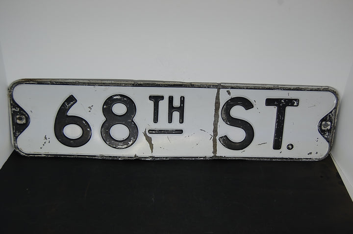 Vintage Street Sign 68TH STREET Old Antique Embossed Metal 1930's 30's Decor