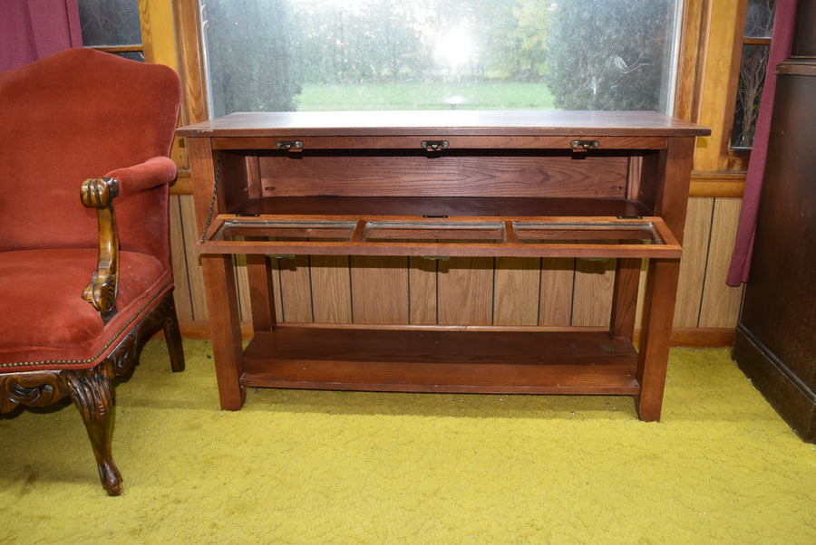 Vintage Real Solid Wood Buffet Table With Glass Panes Cabinet Furniture Hardwood