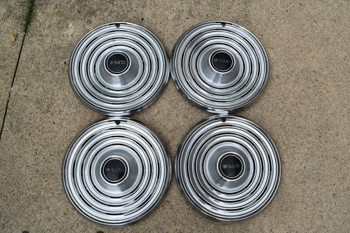 "1969 Pontiac Hubcaps 15"" Set of 4 PMD Emblem Original GM"